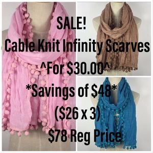 Sale: 🌺Group of 3 Cable-Knit Infinity Scarves